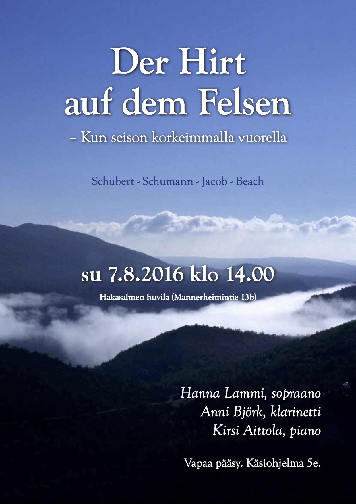 Der Hirt auf Dem Felsen - Kun seison korkeimalla vuorella 7.8.2016